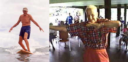 SFL, 1:03:46, Woody Brown, Infused with Aloha, Does the Hula at the Close of SURFING FOR LIFE